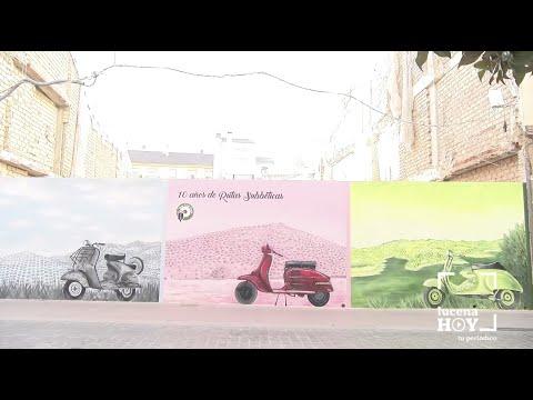 VÍDEO: Un mural en la calle San Pedro recuerda diez años de Ruta Subbética en Vespa
