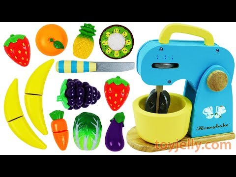 Learn Fruits Vegetables Toy Mixer Playset Wooden Velcro Toys Baby Birthday Cake Nursery Rhymes Songs