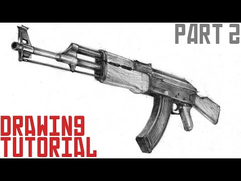 How to draw AK-47 in 3d (part 2) - YouTube