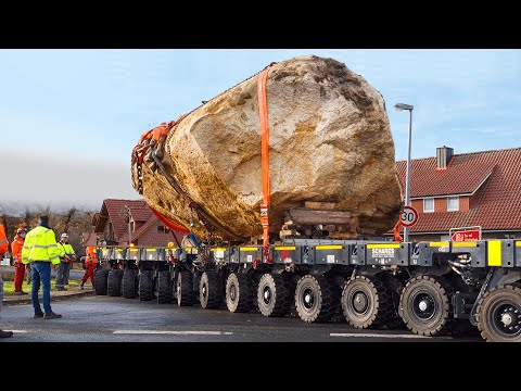 Salvage of a 102 tons Glacial Erratic Rock | Heavy Haulage
