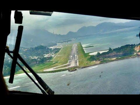 Cockpit View-Air Seychelles landing SEZ Airport 13.01.2018 Mahe Island Seychelles (HD)