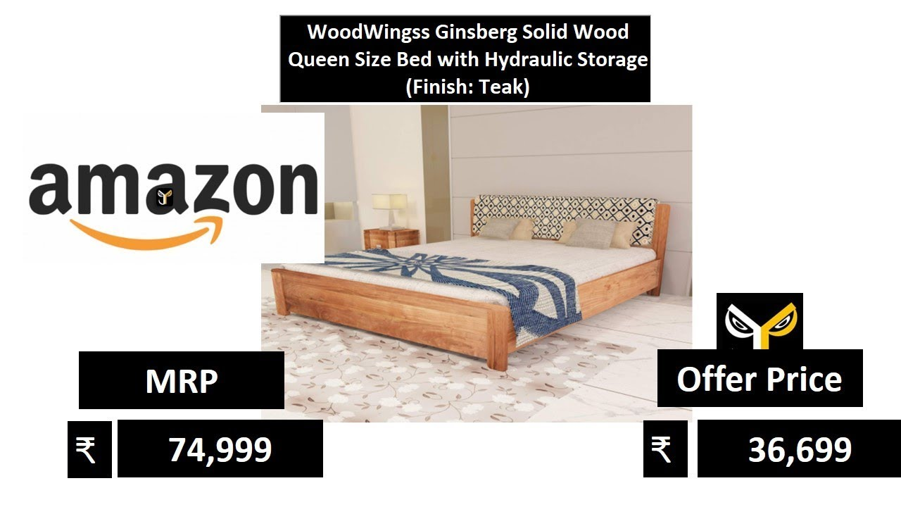 Woodwingss Ginsberg Solid Wood Queen Size Bed With Hydraulic Storage Finish Teak