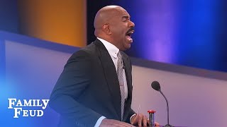 Contestant Lisa makes Steve Harvey NERVOUS! | Family Feud