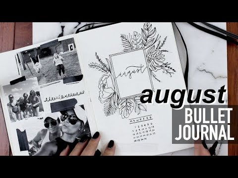 August Minimalistic B&W Bullet Journal   Plan With Me!