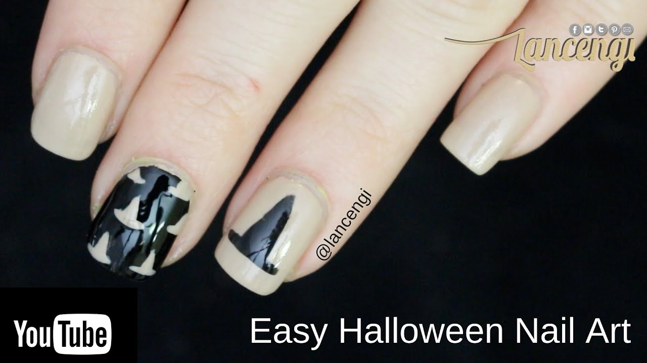 DIY Halloween Nail Art - Classy Witch Hat Design #2 - YouTube