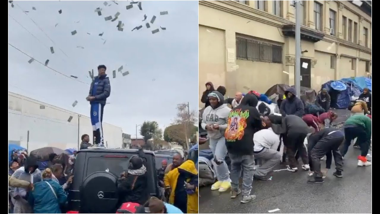 Blueface Makes It Rain On Skid Row Throws $100K At Homeless