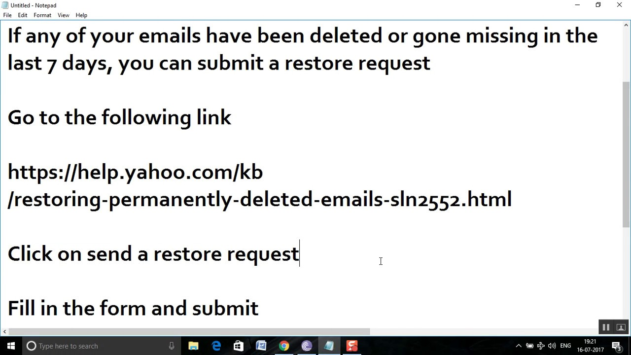 how to restore deleted yahoo account