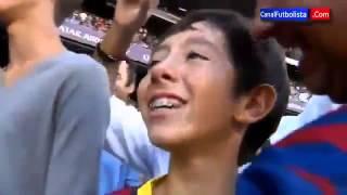 new messi refuse boy fan piqu give his t shirt he was cried    barcelona 7 0 levante