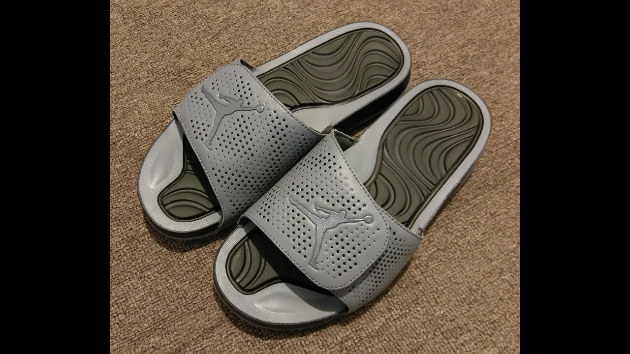 637fcce5ad9707 Nike Jordan Hydro 5 Sandals Slides Gray Black Unboxing - YouTube