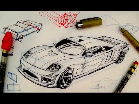 Pen & Ink Drawing Tutorials | How to draw a car - YouTube
