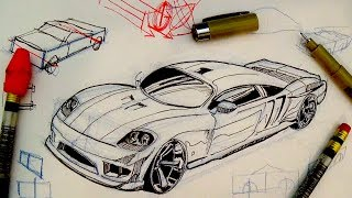 Pen & Ink Drawing Tutorials | How to draw a car