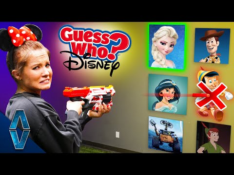 Don't Shoot The WRONG Disney Character! NERF Guess Who Challenge!