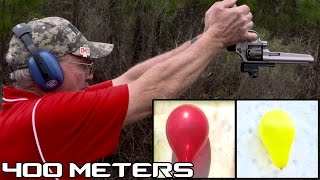 RECORD 400 METER UPSIDE DOWN DUAL BALLOON SHOT WITH A 9mm PISTOL! (4K)