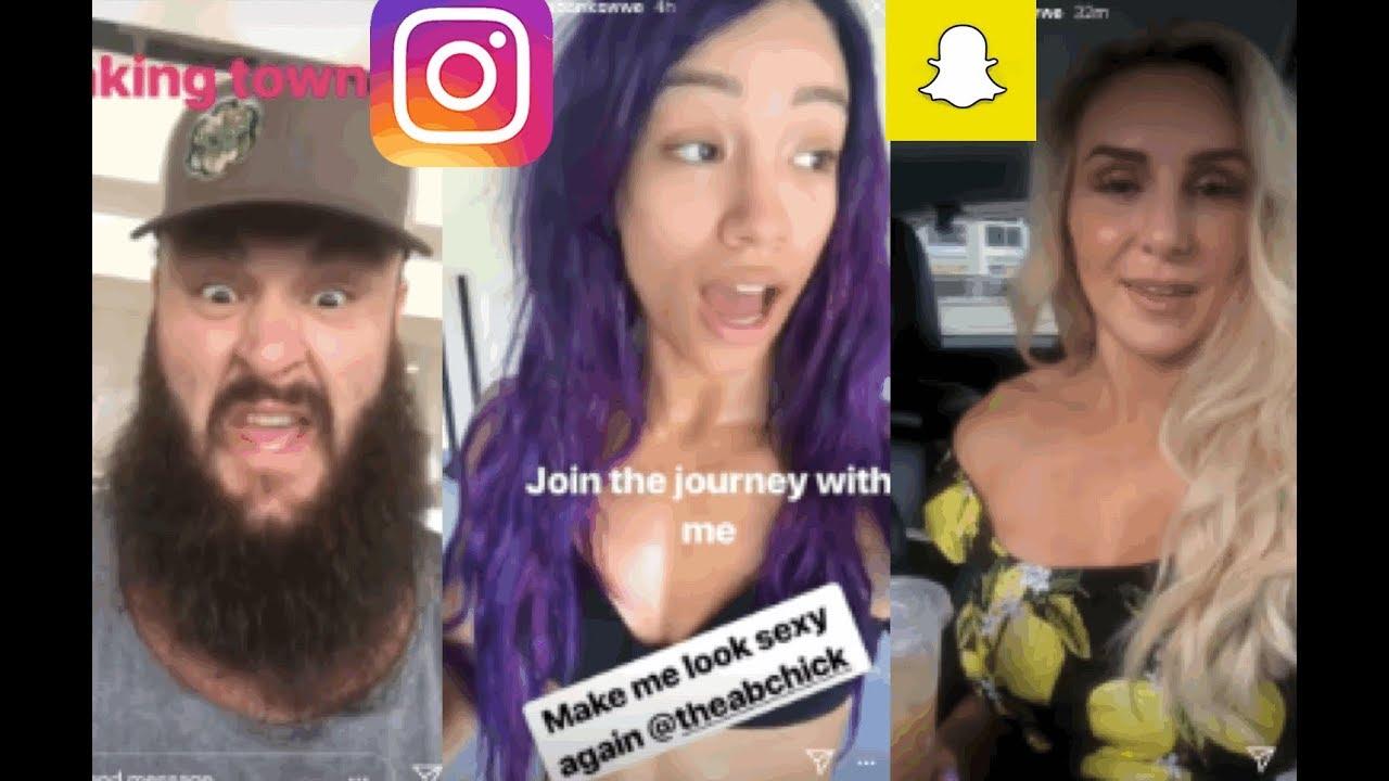 WWE Snapchat/Instagram ft  Sasha Banks, Braun Strowman, Charlotte, Bayley,  Riott Squad, Miz n MORE