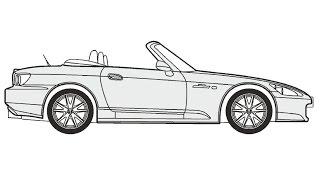 How to Draw a Honda S2000 / Как нарисовать Honda S2000