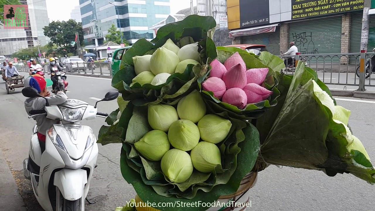 Beautiful Lotus Flower On Street Saigon Vietnam 2017 Youtube