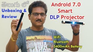 Portable DLP Smart Projector Unboxing & Review in Telugu...