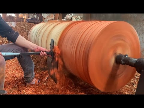 Amazing Techniques Biggest Woodworking Extreme Dangerous – Skills Working Hand Craft On Wooden Lathe