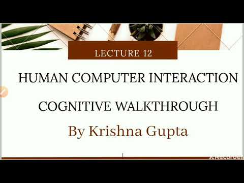 Cognitive Walkthrough in HCI / Cognitive Walkthrough and heuristic evaluation