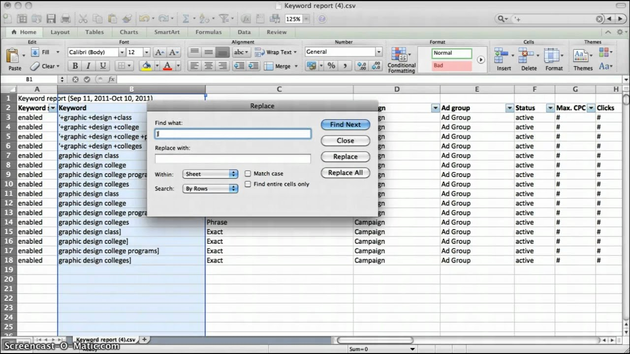 how to prep excel worksheets for adwords editor youtube