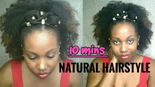 Easy 10 minute Hairstyle on Natural 4a Hair with Hair Jewelry - Me & These Curls