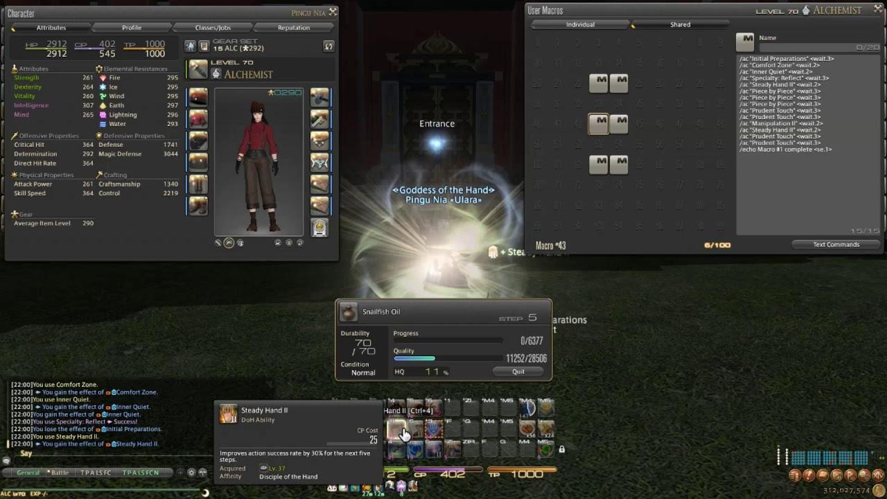 FFXIV Stormblood - Patch 4 1 Level 70 ★★ Two Star HQ Rotation/Macro