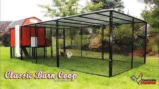 This easy to clean classic barn style chicken coop is easy to clean, and easy to build. Check out more chicken coop ideas on our site