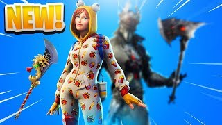 "*NEW* FORTNITE SKINS + COSMETICS! FORTNITE ""ONESIE"" SKIN + ""SPIDER KNIGHT SKIN"" GAMEPLAY!"