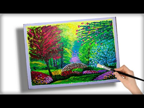Beautiful  Flower Garden and bridge painting | Nature Painting tutorial