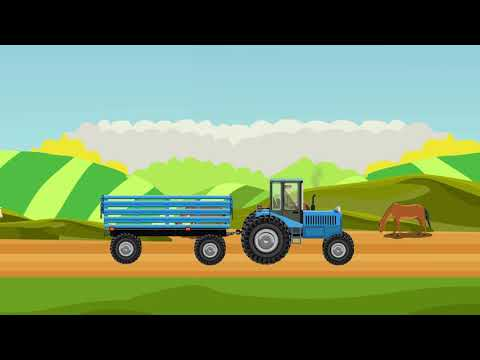 Tractor, Farm, Wheat Harvesting, Picking Up Straw Bales Animation For Kids