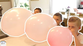 fun kids popping balloons challenge.. blow it up can we pop it..blow to pop family fun challenge..