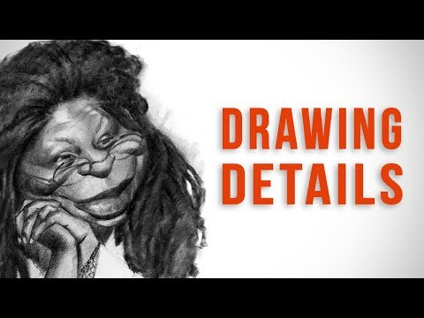 Drawing Whoopi Goldberg - Caricature Final Sketch Example
