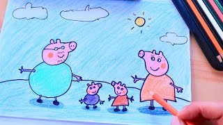 How to Draw Peppa Pig Family by Daddy!