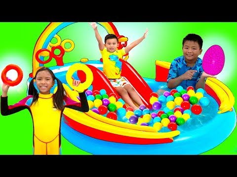 Wendy Pretend Play with Giant Rainbow Inflatable Kids Swimming Pool