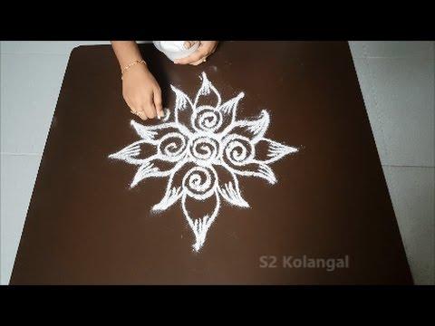 Lotus Rangoli Designs Easy Freehand Lotus Kolam Designs