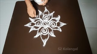 lotus rangoli designs- easy freehand lotus kolam designs -  muggulu designs - diwali kolam
