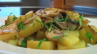 Картофель тушеный со свежими грибами видео рецепт Книга о вкусной и здоровой пище