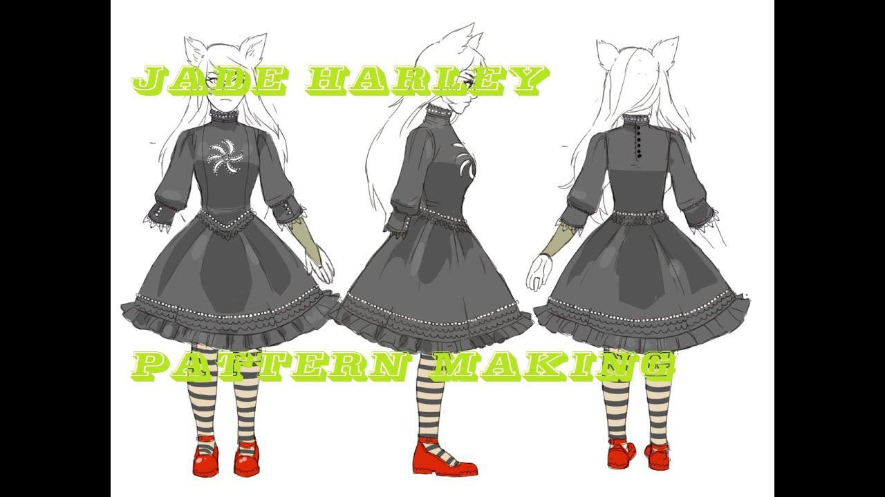 48c6b3cb072f Pattern Making - Cosplay Work Log (Jade Harley fancy dog tier) - YouTube