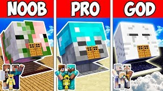 Minecraft Noob Vs Pro Vs God  Family Monster Head Block House 2 In Minecraft  Animation