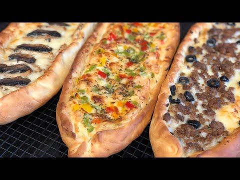 البيتزا-التركية-بعجين-راائع-و-تلاث-حشوات🇹🇷-pizza-turque-(pide)-recette-facile-trois-garnitures