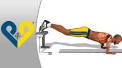 Brust übungen, trainieren brust, trizeps muskelaufbau - LIEGESTÜTZE - Füße auf der Bank