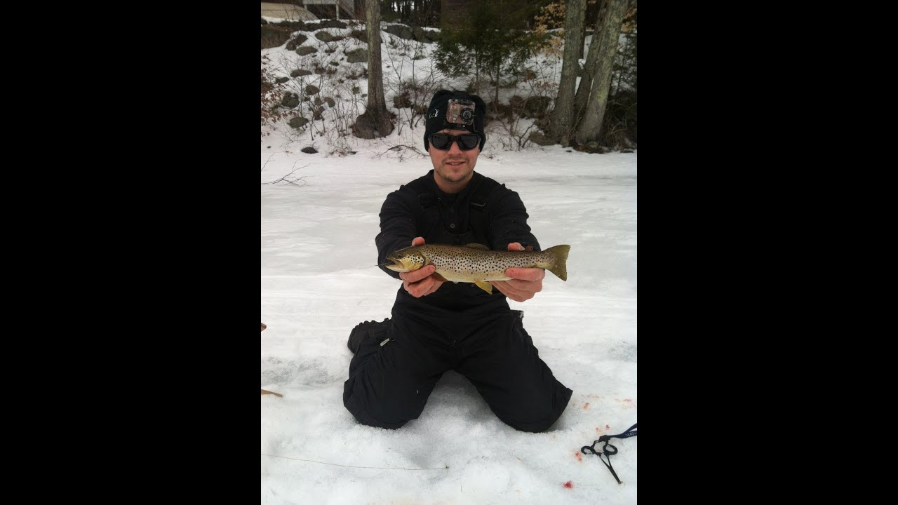 Go pro ice fishing in maine brown trout craig binette for Ice fishing maine
