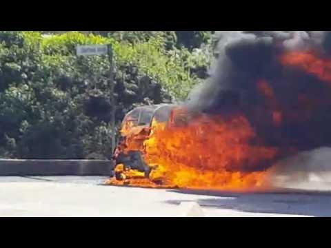 Electric Car Explosive Fire - Dad Rescued Daughter (2) From Burning Electric Vehicle