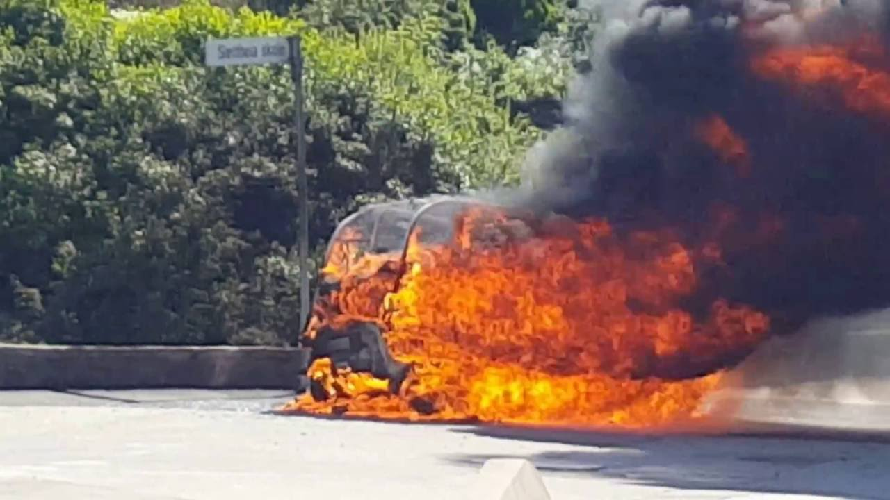 Electric Car Explosive Fire Dad Rescued Daughter 2
