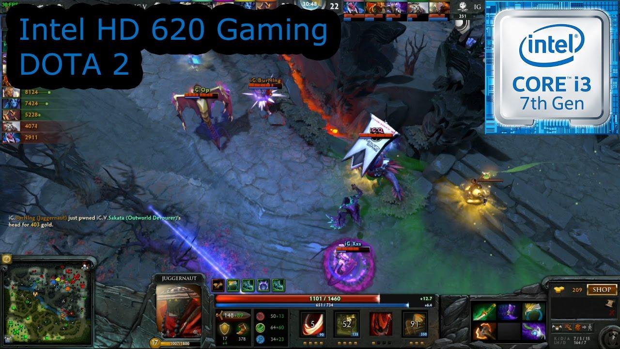 Intel HD 620 Gaming DOTA 2 I3 7100U I5 7200U I7