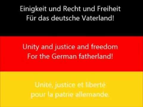 Lied der Deutschen. Deutschlandlied - National anthem of Germany. Hymne national de l'Allemagne.