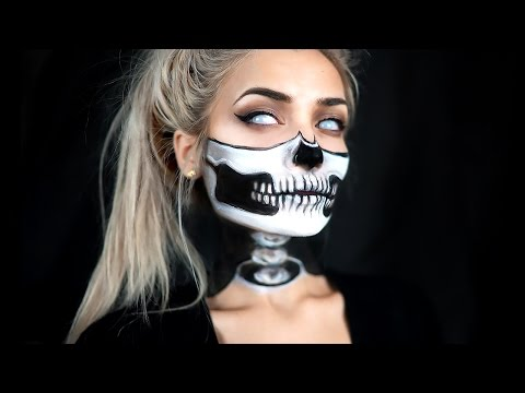 HALF SKULL & EXPOSED SPINE HALLOWEEN MAKEUP TUTORIAL