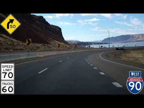 Westbound Interstate 90 In Washington, Columbia River Gorge, Vantage Bridge & Ryegrass Summit