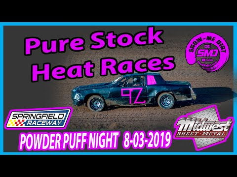 S03 E373 Pure Stock Heat Races - POWDER PUFF NIGHT Springfield Raceway 08-03-2019