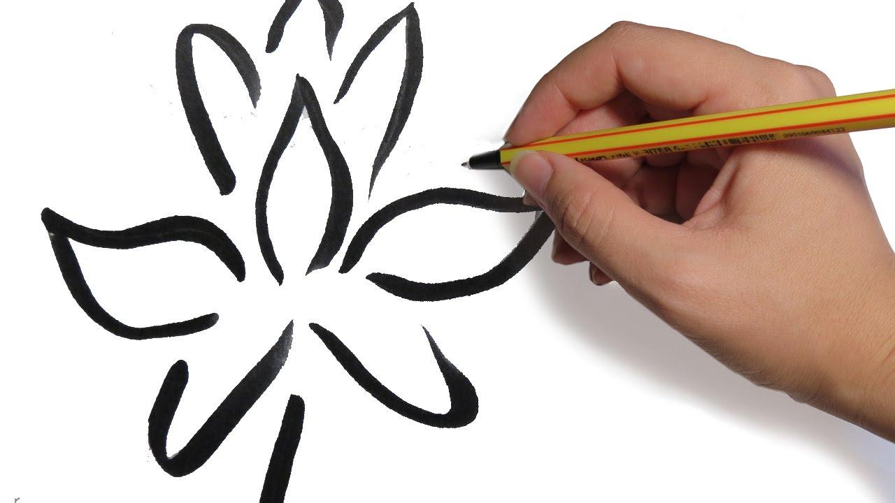 COMO DIBUJAR FLORES Flor de loto tribal paso a paso  YouTube